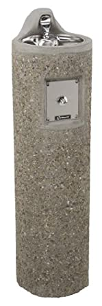 Haws 3060FR Freeze-Resistant Vibra-Cast Reinforced Round Concrete Pedestal Drinking Fountain with Exposed Aggregate Finish (Freeze-Resistant Valve Not Included)