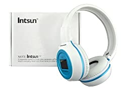 Intsun® N65 Digital High Fidelity Wireless Stereo earphone headphone headset with microphone, MP3 Music Player with SD Card and USB Slot and LCD Screen Display Sport Headphones Earphone Headset (Blue)