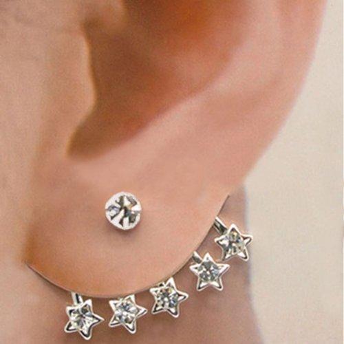 1Pc Ear Cuff Stud Wraps Star Shaped Crystal Rhinestone Stud Pin Earring New