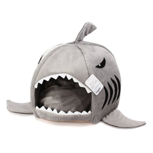 KOJIMA Shark Round House Puppy Bed with Pet Bed Mat, Small to Medium (Gray, Medium)