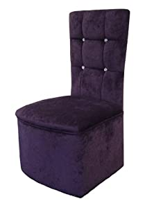 Bedroom chair in luxurious purple soft chenille fabric - Amazon bedroom chairs and stools ...