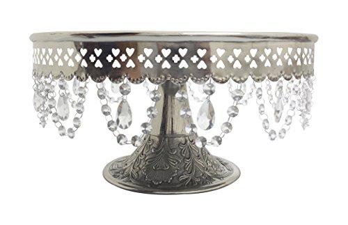 GiftBay Wedding Cake Stand Round Pedestal Silver Finish 16 With Hanging