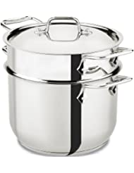 All-Clad E414S664 Stainless Steel Pasta Pot and Insert Cookware, 6-Quart, Silver by All-Clad