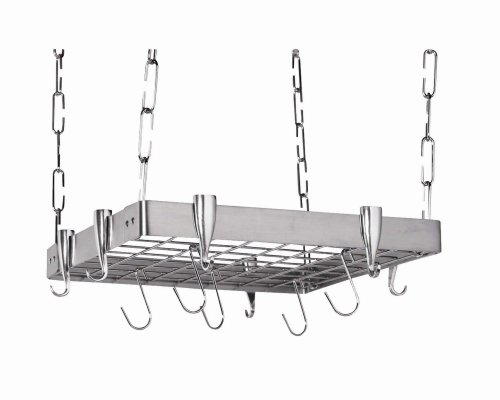 Concept Housewares PR-40902 Stainless-Steel Hanging Pot Rack, Square