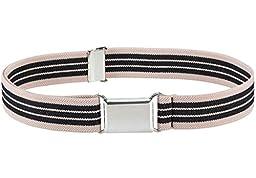 Kids Elastic Adjustable Belt With Silver Square Buckle - Beige and Black Stripe
