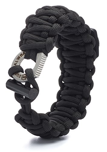 #1 BEST Paracord Bracelet - Survival WRAPS Emergency Paracord Bracelet - Adjustable-Size Paracord Bracelet with Fire Starter, Compass, and more! (Black)
