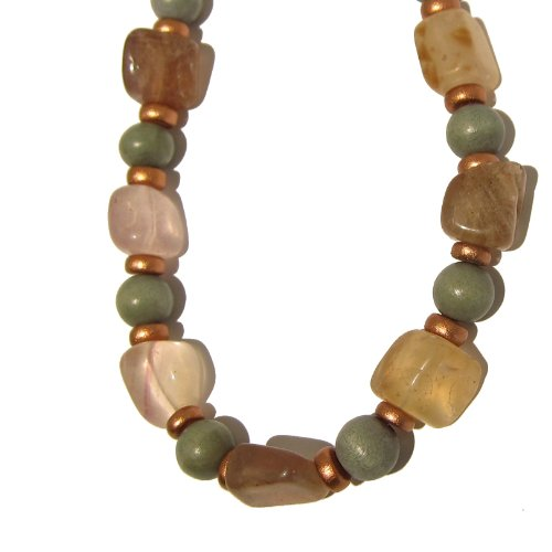 Fluorite Necklace 01 Choker Beaded Crystal Healing Nugget Stone Gray Wood Copper Gemstone Chunky 16