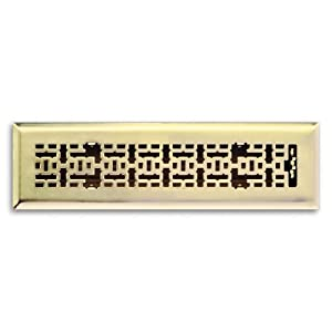 Truaire C167-MPB 02X12(Duct Opening Measurements) Decorative Floor Grille 2-Inch by 12-Inch Modern Contempo Floor Diffuser, Polished Brass Finish