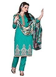 Aaliya sea green colored dress material