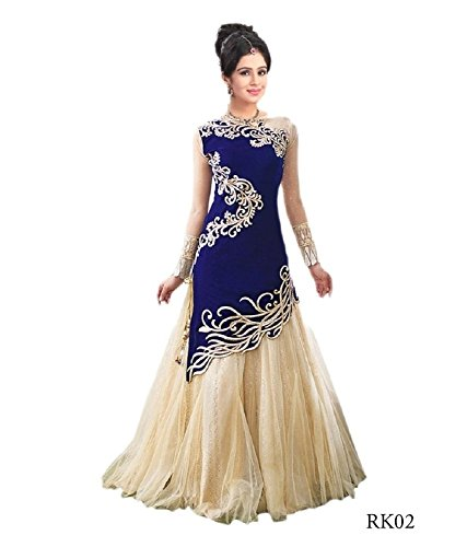 S.B CREATION Women's Velvet Gown Type Lehenga Choli(zoyablue11_blue_freesize)