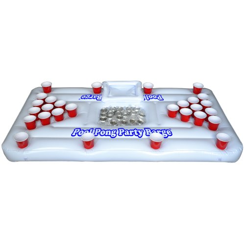 Gopong Pool Party Barge Floating Beer Pong Table With Cooler, White, 6-Feet