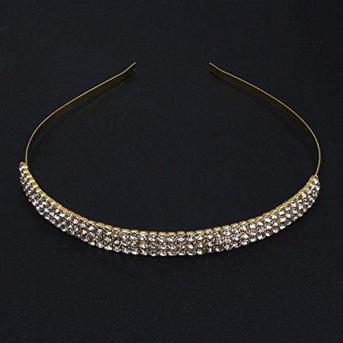 Wedding Bridal Gold Plated 3 Rows Rhienstone Crystal Hair Band Headband Gor Gift,Party front-356430