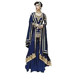 Bhelpuri Women Navy Blue Georgette Semi-Stitched Salwar Kameez