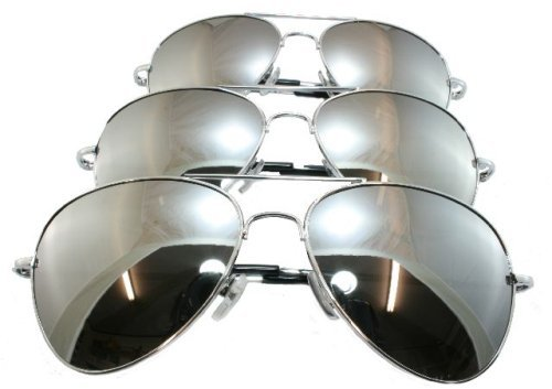 3 G&G Silver Mirrored Aviator Sunglasses