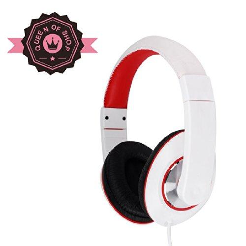 Ip780 White + Red Plug N Play Dj Style Pink Kids Headphones For Children - 3.5Mm Standard Jack Plug