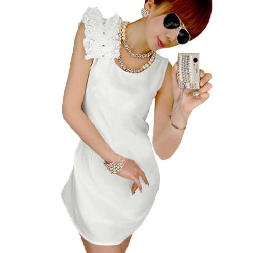 Scoop Neck, Ruffled Decor, Stretchy, Pullover Design, Clear Plastic Crytal Decor Left Shoulder. The model in our picture is about 5.3 Ft tall. Ladies Dress ONLY, other accessories photographed not included. Please check your measurements to make sure the item fits before ordering.