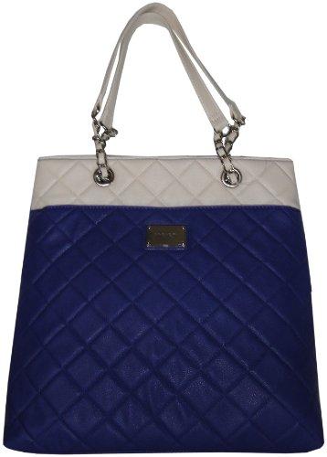 Nine West Women'S Large Quilted Color Block Tote, Handbag, Blue/White