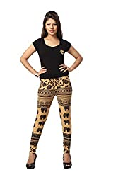HIVA Women's Designer Printed Beige Poly Cotton Stretchable Leggings (Free Size)