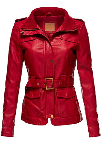 Belted Babydoll Faux Leather Trenchy Coat Jackets