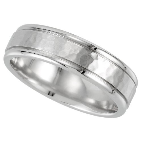 Cobalt Chrome, Hammered with Polished Edge Wedding Band (sz 8.5)