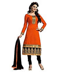 Puffin Fashion Chanderi Orange Colour Printed Women's Cotton Dress Material