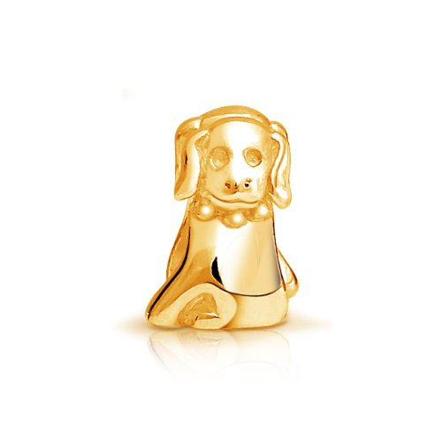 Bling Jewelry 925 Sterling Gold Vermeil Puppy Dog Animal Bead Pandora Compatible