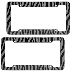 OxGord 2pc Set Plastic License Plate Frames with Zebra/Tiger Stripes, Gray & Black