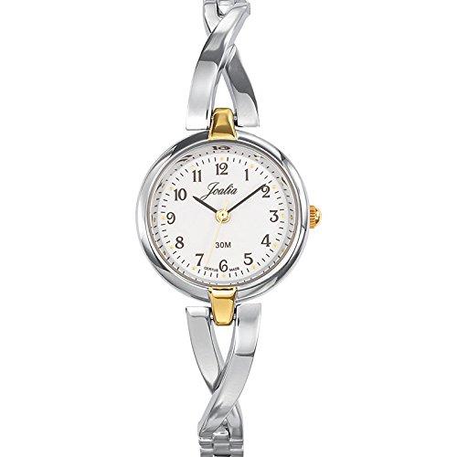 Joalia-634576-Orologio da donna con cinturino in metallo con quadrante bianco, colore anello: Bicolore
