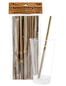 Sustainable Bamboo Drinking Straws - 12 Pack