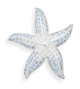 Blue and Clear Swarovski Crystal Starfish Silver Plated Fashion Pin, 1-1/2 inch diameter