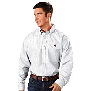 Minnesota Vikings Esteem Button Down Dress Shirt (White) by Antigua