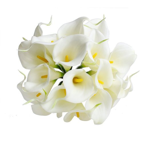 Cozyswan 20pcs Calla Lily Bridal Wedding Bouquet head Latex Real Touch Flower Bouquets KC51 White