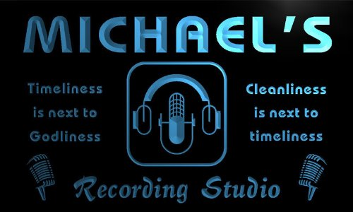 Qm004-B Michael'S Recording Studio Microphone On The Air Neon Beer Sign