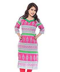 Lal Chhadi Women's 3/4 Sleeve Cotton Kurta with combination of Pink and Green