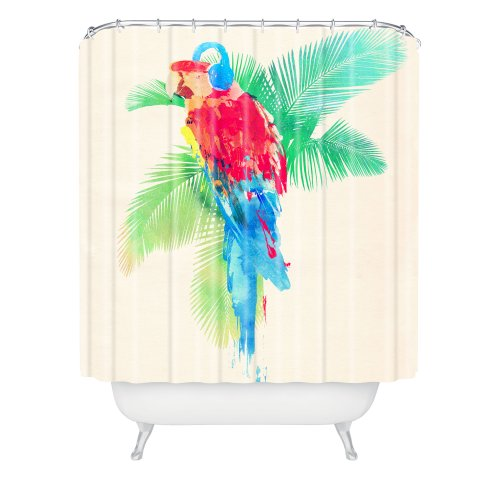 Tropical shower curtains tropical fabric shower curtain for Tropical fish shower curtain