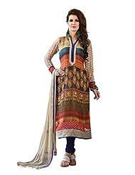 Nirali Womens Georgette Salwar Kameez Semi Stitched - Free Size (Multicolor)