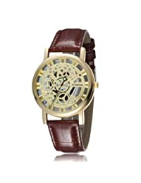 Frenzy Time Skeleton Look Brown Roman Dial Brown Leather Strap Gold Case Wrist Watch For Men