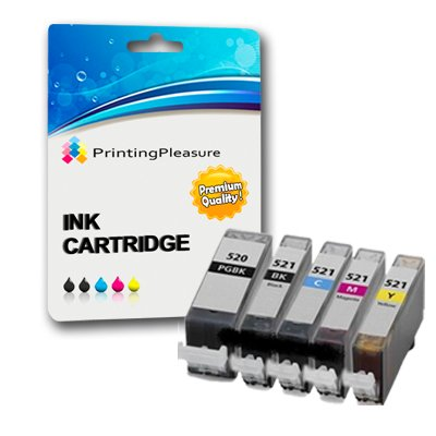 5 x CANON Pixma MX860 Hohe Qualität Kompatibel Drucker Tinte Patronen Mit Chip - BbCMY 1 set PGI520CLI521 (Also compatible with Canon Pixma iP3600 iP4600 IP4700 MP540 MP550 MP560 MP620 MP630 MP640 MP980 MP990 MX860 MX870) by Printing Pleasure PREMIUM