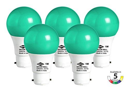 HPL-1-W-LED-Bulb-(Green,-Pack-of-5)