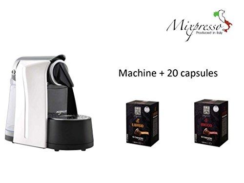Mixpresso espresso machine Nespresso compatible plus 20 bonus Italian capsules (WHITE)