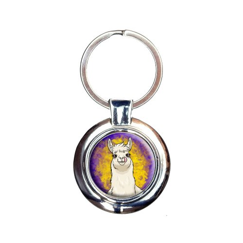 Llama Sticking Out Tongue Keychain Key Ring