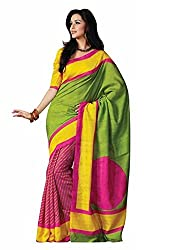 RockChin Fashions Multicolored Bhagalpuri Silk Saree