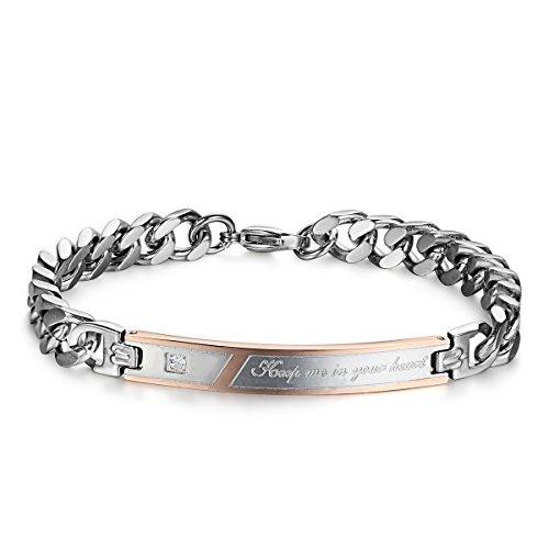 jewelrywe bijoux bracelet homme femme appariement keep me in you heart saint valentin acier. Black Bedroom Furniture Sets. Home Design Ideas