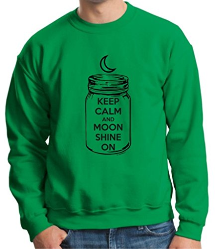 Keep Calm And Moon Shine On Crewneck Sweatshirt Xl Green front-943293