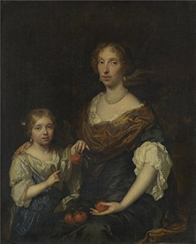 'Caspar Netscher - Portrait Of A Lady And A Girl,1679' Oil Painting, 24x30 Inch / 61x76 Cm ,printed On High Quality Polyster Canvas ,this Amazing Art Decorative Canvas Prints Is Perfectly Suitalbe For Bedroom Gallery Art And Home Artwork And Gifts