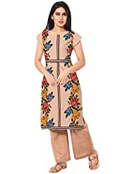 Ahalyaa Peach Cap Sleeve And Boat Neck Faux Crepe Fancy Floral Cross Stitch Print Kurti
