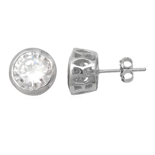 925 Sterling Silver White Cubic Zirconia 8mm Stud Earring for Man Jewelry