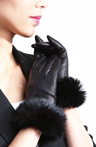 womens-fur-trimmed-lambskin-leather-gloves-medium-black