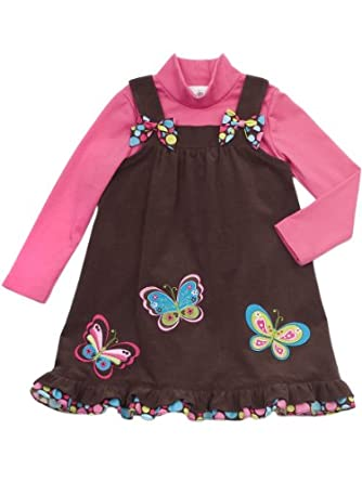 Rare Editions Little Girls' Corduroy Jumper Set, Brown/Pink, 6X