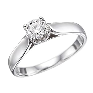 IGI Certified 14k white-gold Round Cut Diamond Engagement Ring (0.30 cttw, H Color, VS2 Clarity) - size 8.5